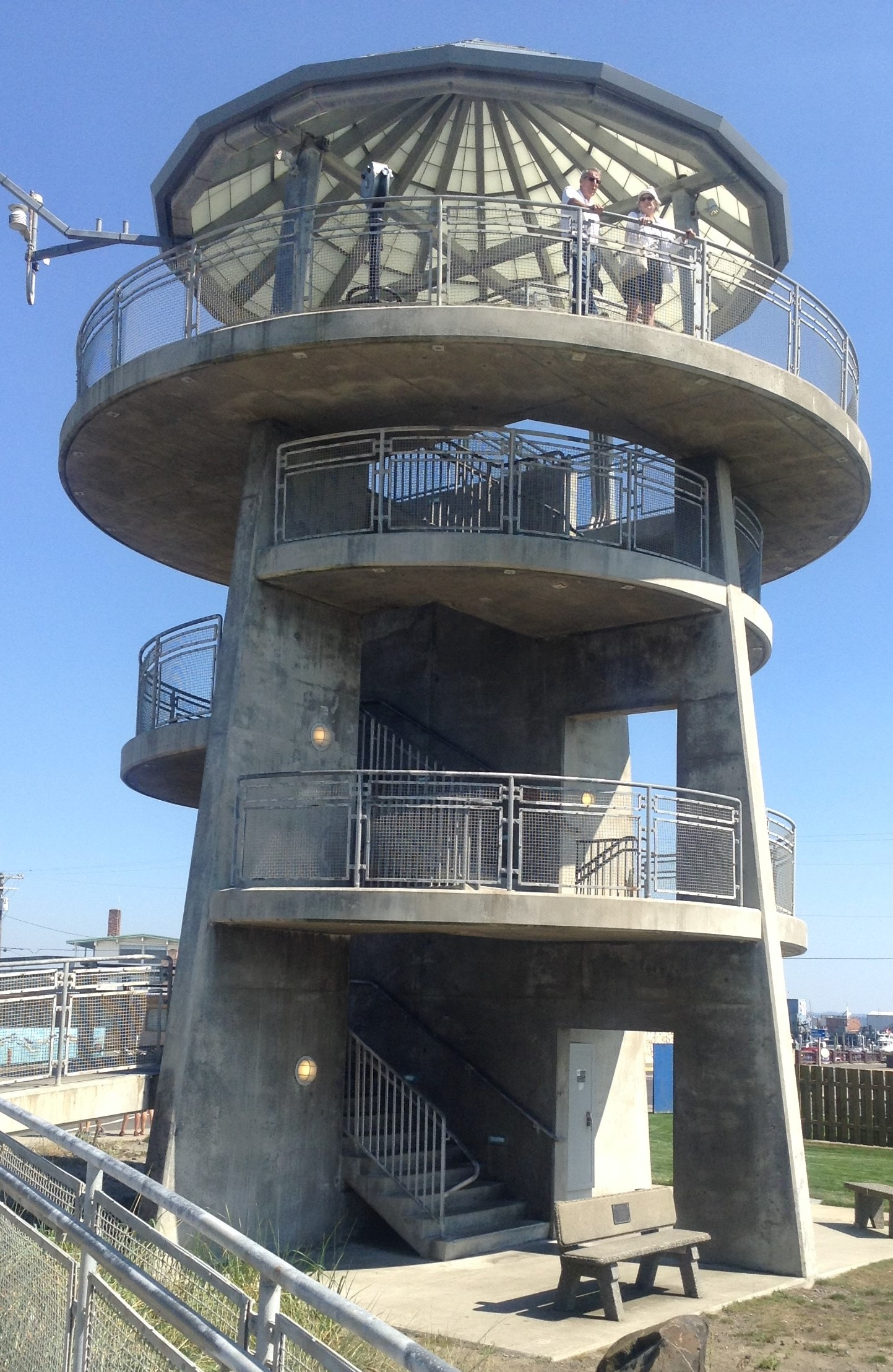 Viewing Tower in Westport, WA- offering amazing views of the Pacific Ocean and the Westport Marina, with distant views of OCean Shores, WA which is divided by the Mouth of Grays Harbor.